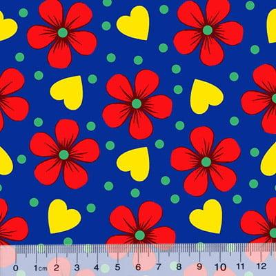 Tecido Chita Floral Lourdes - Azul