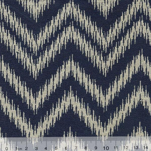 Tecido Jacquard Decor Soft Dupla Face - Chevron Frame - Azul Marinho e Branco