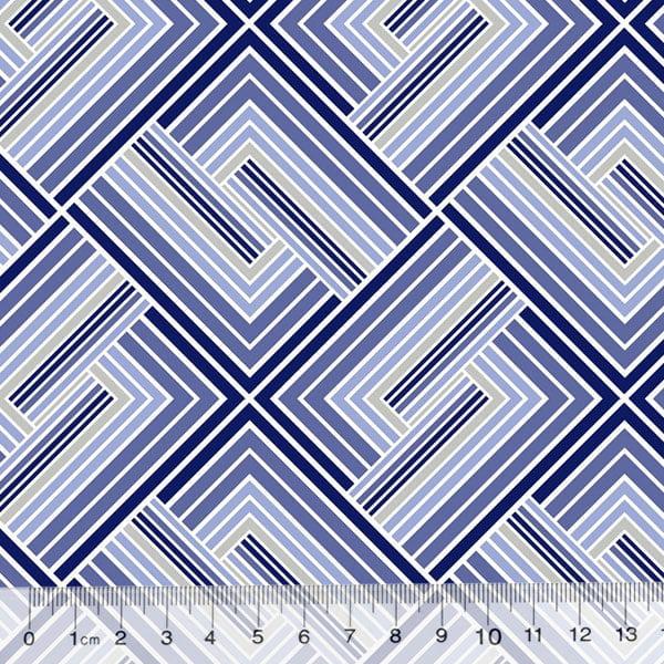 Percal 130 Fios Geometria Stilus - Azul