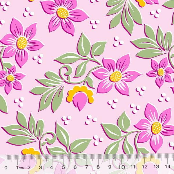 Tecido Percal 130 Fios Jardim de Flores - Rosa