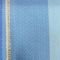 Tricoline Mista Barras Patchwork - Azul