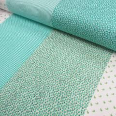 Tricoline Mista Barras Patchwork - Verde