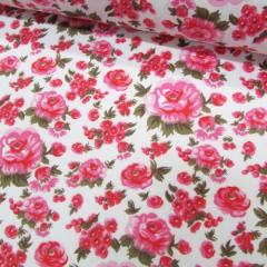 Tricoline Mista Floral Decora - Rosa