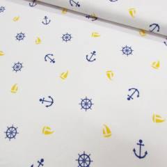 Tricoline Mista Náutico - Azul e Amarelo