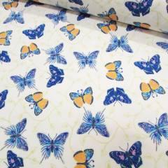 Tecido Tricoline Mista Borboletas e Cores - Azul
