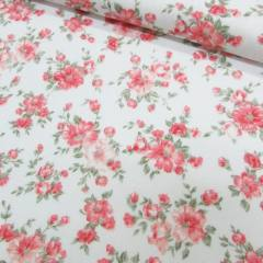 Tecido Tricoline Mista Floral Classic - Rosê