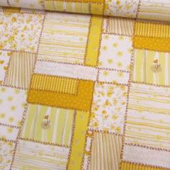 Tecido Tricoline Mista Patch Love - Amarelo