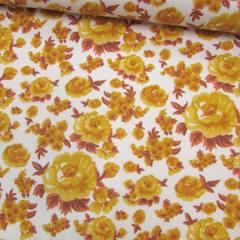 Tricoline Mista Floral Decora - Amarelo