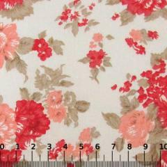 Tricoline Mista Floral Grand Garden - Vermelho c/ Laranja