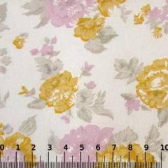 Tricoline Mista Floral Grand Garden - Lilás c/ Amarelo