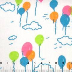 Tricoline Mista Balões Coloridos - Azul Claro