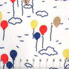Tecido Tricoline Mista Balões Coloridos - Azul Marinho