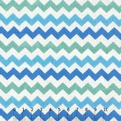 Tecido Tricoline Mista Chevron Multicores - Azul