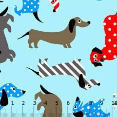 Tricoline Alg. Cães Textura - Azul