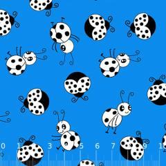 Tecido Tricoline Alg. Ladybug - Azul - 100% Algodão - Largura 1,45m