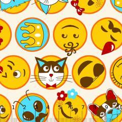 Tecido Tricoline Alg. Emoticons - Bege