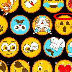 Tricoline Alg. Emoticons - Preto