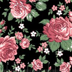 Tricoline Alg. Floral - Bela Floral - Preto