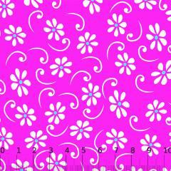 Tricoline Alg. Floral - Jasmim - Fundo Rosa