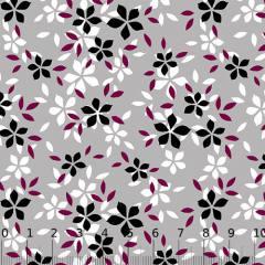 Tecido Tricoline Alg. Floral - Estrelas - Cinza