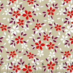 Tricoline Alg. Floral - Estrelas - Bege