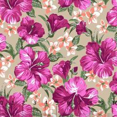 Tricoline Alg. Floral - Hibisco - Fundo Bege