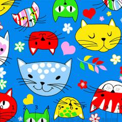 Tecido Tricoline Alg. Los Gatos - Azul