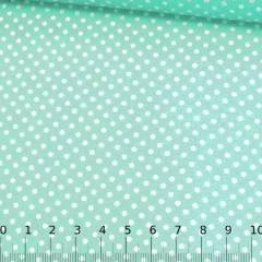 Tecido Tricoline Mista Pop Textoleen Poá M Fundo Verde Claro - 50% Algodão 50% Poliéster - Largura 1,38m