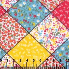 Tricoline Mista Pop - Patch Quadrados - Vermelho