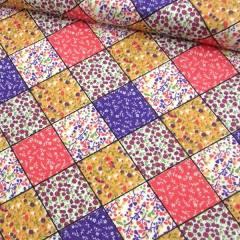 Tecido Tricoline Mista Pop - Patch Quadrados - Lilás