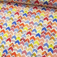 Tricoline Mista Pop - Mini Chevron Patch - Laranja