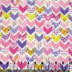 Tricoline Mista Pop - Mini Chevron Patch - Rosa