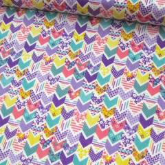 Tricoline Mista Pop - Mini Chevron Patch - Lilás