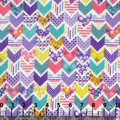 Tecido Tricoline Mista Pop - Mini Chevron Patch - Lilás
