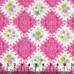 Tecido Tricoline Mista Pop - Floral Azulejo - Rosa