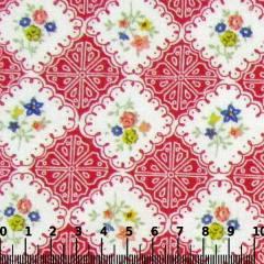 Tricoline Mista Pop - Floral Azulejo - Vermelho