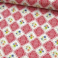 Tecido Tricoline Mista Pop - Floral Azulejo - Vermelho