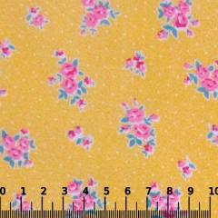 Tricoline Mista Pop - Floral Florence Poá - Amarelo