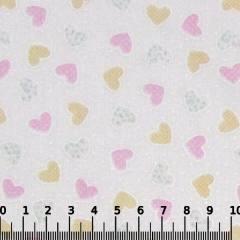 Tricoline Mista Pop - Corações Patch - Rosa