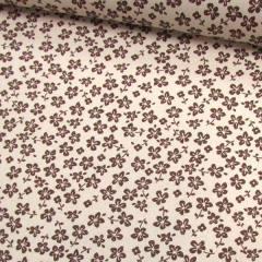 Tecido Tricoline Floral - Trevos Fundo Bege c/ Marrom