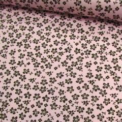 Tricoline Floral - Trevos Fundo Rosa c/ Marrom