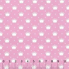 Tecido Tricoline Pequenas Coroas e Poás - Rosa Claro c/ Branco