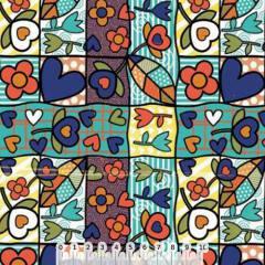 Tricoline Patchwork Romero - Azul