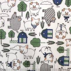 Tecido Tricoline Porquinhos da Fazenda - Verde