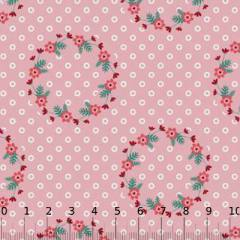 Tricoline Floral Guirlanda de Flores - Rosa