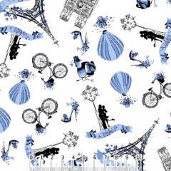 Tecido Tricoline Parisiense - Azul