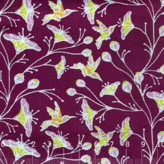 Tecido Tricoline Floral Primavera Sonora - Vinho