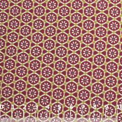 Tecido Tricoline Flores Mosaico - Vermelho