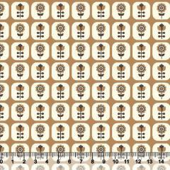 Tecido Tricoline Floral Janelinha - Fundo Mostarda