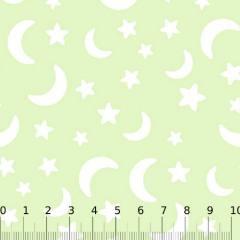 Tecido Tricoline Baby Lunar Composê Luas e Estrelas - Verde